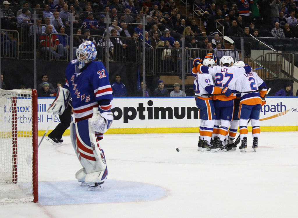 NEW YORK, NY - MARCH 22:  The New York Islanders celebrate the game winning goal by Andrew Ladd #16 at 12:38 of the third period against the New York Rangers at Madison Square Garden on March 22, 2017 in New York City.  The Islanders defeated the Rangers 3-2.  (Photo by Bruce Bennett/Getty Images)