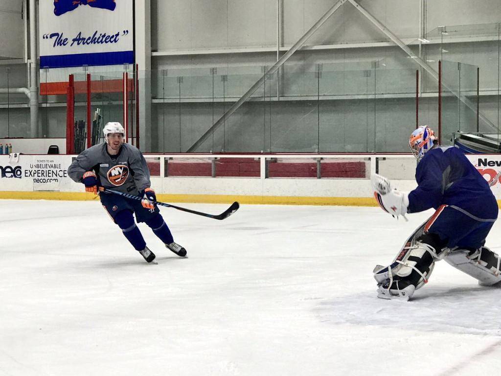 Casey Cizikas skates during Islanders practice (Photo credit: Islanders Twitter)