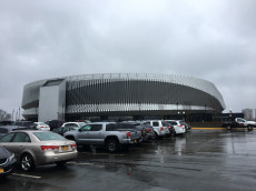 The outside of the renovated Nassau Coliseum on March 31, 2017.