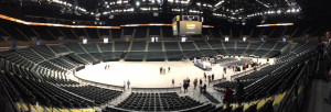 A panoramic shot of the inside bowl of the renovated Nassau Coliseum. Forest City Ratner Companies spent $165 million to renovate the outdated arena.
