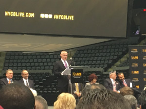 Brett Yormark, Barclays Center CEO, speaks during a press conference to reopen the newly renovated Nassau Coliseum.