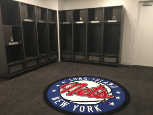 The locker room the Long Island Nets will use when they move the newly renovated Nassau Coliseum next season. The Nets have played their home games this year at the Barclays Center.