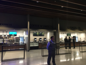 Food options on the lower level of the concourse at the newly renovated Nassau Coliseum.