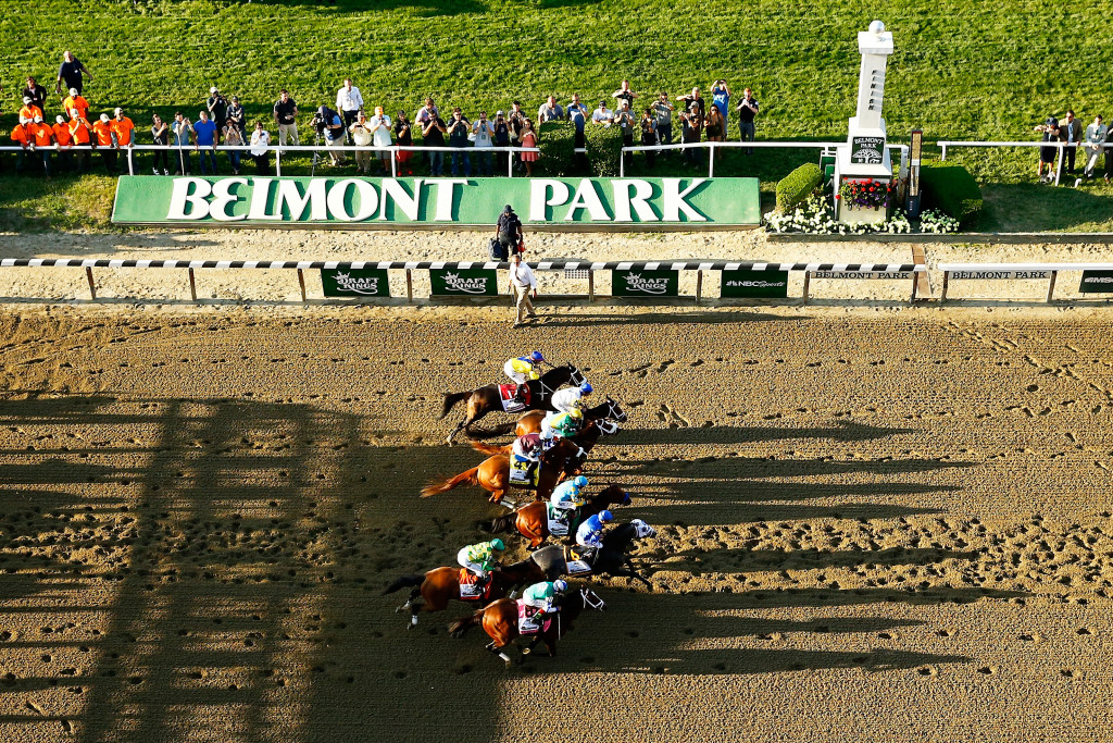 ELMONT, NY - JUNE 06:  The field leaves the starting gate at the beginning of the 147th running of the Belmont Stakes at Belmont Park on June 6, 2015 in Elmont, New York.</p /> </p><!-- google_ad_section_end --></div>     <div class=
