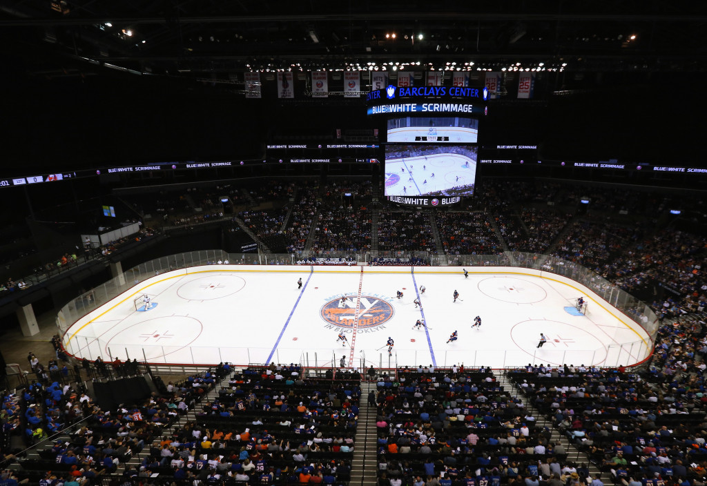 NEW YORK, NY - JULY 08: Players participate in the 2015 New York Islanders Blue &amp; White Rookie Scrimmage &amp; Skills Competition at the Barclays Center on July 8, 2015 in Brooklyn borough of New York City.</p /> </p><!-- google_ad_section_end --></div>     <div class=