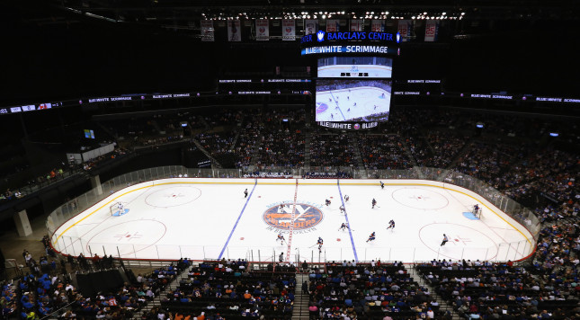 NEW YORK, NY - JULY 08: Players participate in the 2015 New York Islanders Blue & White Rookie Scrimmage & Skills Competition at the Barclays Center on July 8, 2015 in Brooklyn borough of New York City.  (Photo by Bruce Bennett/Getty Images)
