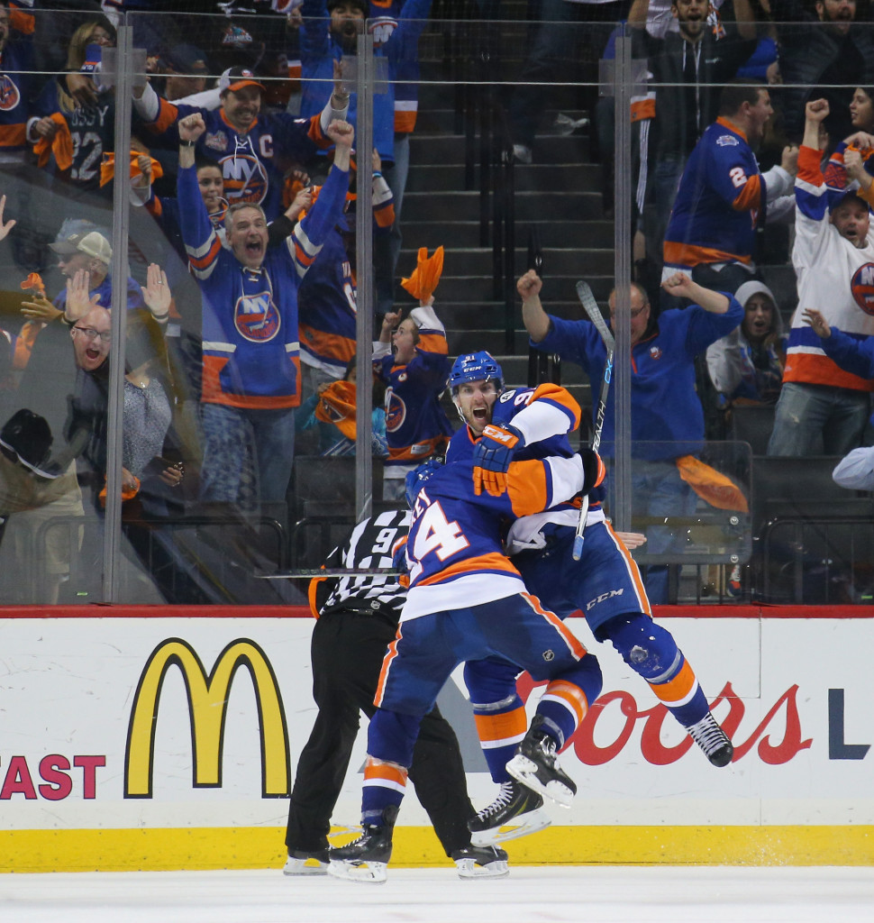 NEW YORK, NY - APRIL 24:  John Tavares #91 of the New York Islanders celebrates his game winning goal at 10:41 of the second overtime against the Florida Panthers and is joined by Thomas Hickey #14 in Game Six of the Eastern Conference First Round during the 2016 NHL Stanley Cup Playoffs at the Barclays Center on April 24, 2016 in the Brooklyn borough of New York City. The Islanders win the series 4 games to 2 to move on to the next round.</p /> </p><!-- google_ad_section_end --></div>     <div class=