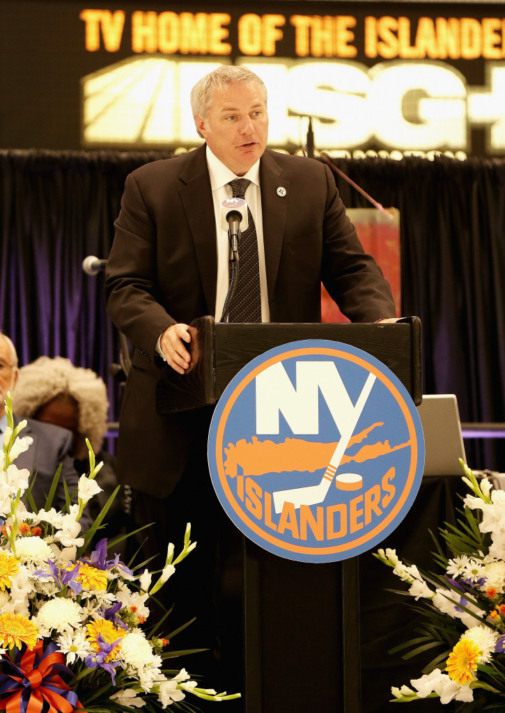 EAST MEADOW, NY - AUGUST 29: New York Islanders general manager Garth Snow addresses the guests during the New York Islanders memorial service for Al Arbour on August 29, 2016 in East Meadow, New York. (Photo by Andy Marlin/Getty Images)