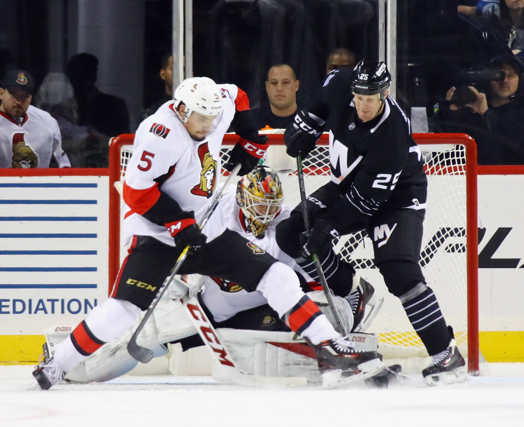 NEW YORK, NY - DECEMBER 18: Cody Ceci #5 of the Ottawa Senators skates against Jason Chimera #25 of the New York Islanders at the Barclays Center on December 18, 2016 in the Brooklyn borough of New York City.  The Senators defeated the Islanders 6-2.</p /> </p><!-- google_ad_section_end --></div>     <div class=