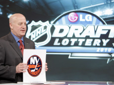 TORONTO - APRIL 13: Deputy Commissioner of the NHL Bill Daly announces  the fifth pick to go to the New York Islanders during the NHL Draft Lottery Drawing at the TSN Studio April 13, 2010 in Toronto, Ontario, Canada. (Photo by Abelimages / Getty Images for NHL)