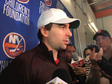 John Tavares talks to the media following his exit interview at Northwell Health Ice center.