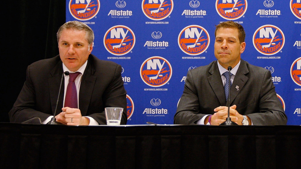UNIONDALE, NY - MAY 26: (L-R) General Manager Garth Snow, New York Islanders Captain Doug Weight and New York Islanders Owner Charles Wang speak to the media during a press conference to announce Doug Weight's retirement on May 26, 2011 at the Long Island Marriott in Uniondale, New York. (Photo by Mike Stobe/NHLI via Getty Images)
