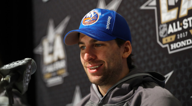 LOS ANGELES, CA - JANUARY 28:  John Tavares #91 of the New York Islanders speaks to the media during 2017 NHL All-Star Media Day as part of the 2017 NHL All-Star Weekend at the JW Marriott on January 28, 2017 in Los Angeles, California.  (Photo by Bruce Bennett/Getty Images)