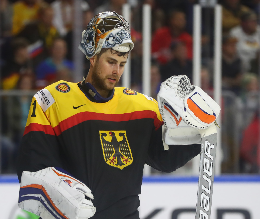 COLOGNE, GERMANY - MAY 08:  Thomas Greiss of Germany looks dejected during the 2017 IIHF Ice Hockey World Championship game between Germany and Russia at Lanxess Arena on May 8, 2017 in Cologne, Germany.  (Photo by Martin Rose/Getty Images)