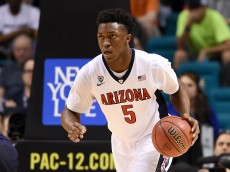 LAS VEGAS, NV - MARCH 12:  Stanley Johnson #5 of the Arizona Wildcats brings the ball up the court against the California Golden Bears during a quarterfinal game of the Pac-12 Basketball Tournament at the MGM Grand Garden Arena on March 12, 2015 in Las Vegas, Nevada. Arizona won 73-51.  (Photo by Ethan Miller/Getty Images)