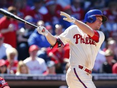 PHILADELPHIA, PA - APRIL 12: Cody Asche #25 of the Philadelphia Phillies hits an RBI double during the fifth inning of a game against the Washington Nationals at Citizens Bank Park on April 12, 2015 in Philadelphia, Pennsylvania. (Photo by Rich Schultz/Getty Images)