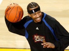 SEATTLE - NOVEMBER 15:  Allen Iverson #3 of the Philadelphia 76ers smiles while warming-up for the game against the Seattle Sonics on November 15, 2006 at Key Arena in Seattle, Washington. The 76ers defeated the Sonics 96-90. NOTE TO USER: User expressly acknowledges and agrees that, by downloading and/or using this Photograph, user is consenting to the terms and conditions of the Getty Images License Agreement. (Photo by Otto Greule Jr/Getty Images)