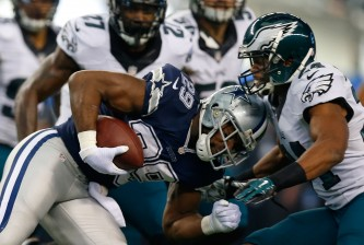 ARLINGTON, TX - NOVEMBER 27:  DeMarco Murray #29 of the Dallas Cowboys collides with Bradley Fletcher #24 of the Philadelphia Eagles in the first half at AT&T Stadium on November 27, 2014 in Arlington, Texas.  (Photo by Tom Pennington/Getty Images)