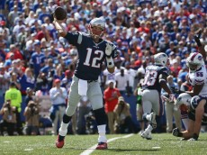 ORCHARD PARK, NY - SEPTEMBER 20: Tom Brady #12 of the New England Patriots throws during NFL game action against the Buffalo Bills at Ralph Wilson Stadium on September 20, 2015 in Orchard Park, New York. (Photo by Tom Szczerbowski/Getty Images)