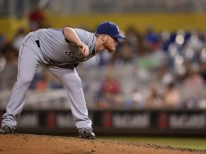 MIAMI, FL - AUGUST 01:  Craig Kimbrel #46 of the San Diego Padres pitches during the ninth inning of the game against the Miami Marlins at Marlins Park on August 1, 2015 in Miami, Florida.  (Photo by Rob Foldy/Getty Images)