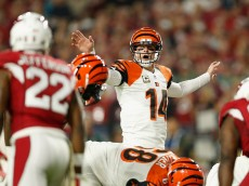 GLENDALE, AZ - NOVEMBER 22:  Quarterback Andy Dalton #14 of the Cincinnati Bengals prepares to snap the football during the NFL game against the Arizona Cardinals at the University of Phoenix Stadium on November 22, 2015 in Glendale, Arizona.  The Cardinals defeated the Bengals 34-31.  (Photo by Christian Petersen/Getty Images)