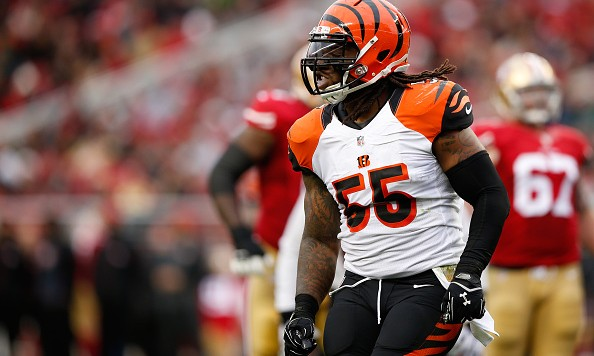 SANTA CLARA, CA - DECEMBER 20:  Vontaze Burfict #55 of the Cincinnati Bengals celebrates after a sack against the San Francisco 49ers during their NFL game at Levi's Stadium on December 20, 2015 in Santa Clara, California.  (Photo by Ezra Shaw/Getty Images)