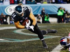PHILADELPHIA, PA - OCTOBER 19: Riley Cooper #14 of the Philadelphia Eagles dives across the goaline for a first quarter touchdown against the New York Giants at Lincoln Financial Field on October 19, 2015 in Philadelphia, Pennsylvania.  (Photo by Al Bello/Getty Images)