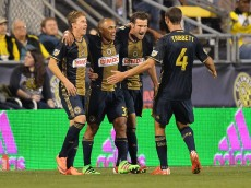 COLUMBUS, OH - MARCH 12:  Brian Carroll #7, Fabinho #33 and Ken Tribbett #4, all of the Philadelphia Union, celebrate with Chris Pontius #13 of the Philadelphia Union after Pontius scored his second goal of the match against against the Columbus Crew SC in the second half on March 12, 2016 at MAPFRE Stadium in Columbus, Ohio.  Philadelphia defeated Columbus 2-1.  (Photo by Jamie Sabau/Getty Images)