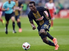 CHESTER, PA - MARCH 20: C.J. Sapong #17 of Philadelphia Union moves the ball during the game against the New England Revolution at Talen Energy Stadium on March 20, 2016 in Chester, Pennsylvania. The Union won 3-0. (Photo by Drew Hallowell/Getty Images)