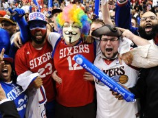PHILADELPHIA, PA - MAY 10:  Philadelphia 76ers fans cheer after a 79-78 win over the Chicago Bulls in Game Six of the Eastern Conference Quarterfinals in the 2012 NBA Playoffs at the Wells Fargo Center on May 10, 2012 in Philadelphia, Pennsylvania. NOTE TO USER: User expressly acknowledges and agrees that, by downloading and or using this photograph, User is consenting to the terms and conditions of the Getty Images License Agreement. (Photo by Drew Hallowell/Getty Images)