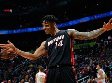 ATLANTA, GA - FEBRUARY 19:  Gerald Green #14 of the Miami Heat celebrates their 115-111 win over the Atlanta Hawks at Philips Arena on February 19, 2016 in Atlanta, Georgia.  NOTE TO USER User expressly acknowledges and agrees that, by downloading and or using this photograph, user is consenting to the terms and conditions of the Getty Images License Agreement.  (Photo by Kevin C. Cox/Getty Images)