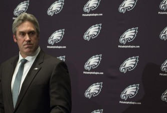 PHILADELPHIA, PA - JANUARY 19: The Philadelphia Eagles announce their new head coach Doug Pederson on January 19, 2016 at the NovaCare Complex in Philadelphia, Pennsylvania. (Photo by Mitchell Leff/Getty Images)