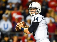 PISCATAWAY, NJ - SEPTEMBER 13:  Quarterback Christian Hackenberg #14 of the Penn State Nittany Lions throws a pass in the first quarter during a game against the Rutgers Scarlet Knights at High Point Solutions Stadium on September 13, 2014 in Piscataway, New Jersey.  (Photo by Alex Goodlett/Getty Images)