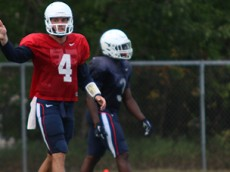 UConn QB Bryant Shirreffs (4) during practice in Storrs, CT.