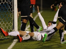 UConn's Jakob Nerwinski (15) during the UConn Huskies vs UCF Knights men's soccer game at Joseph J. Morrone Stadium in Storrs, CT on October 17, 2015.