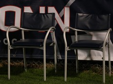 The seats of former UConn men's soccer coach remain empty during the UConn Huskies vs Memphis Tigers men's soccer game at Joseph J. Morrone Stadium in Storrs, CT on October 3, 2015. Morrone passed away on September 16, 2015.