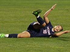 UConn's Stephanie Ribeiro (18) reacts after being fouled during the UConn Huskies vs East Carolina Pirates women's soccer game at Joseph J. Morrone Stadium in Storrs, CT on October 8, 2015.