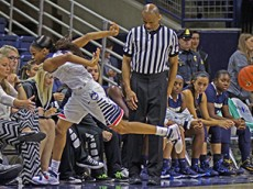 UConn's Moriah Jefferson (4) saves the ball during the UConn Huskies vs Vanguard Lions women's college basketball exhibition game at Gampel Pavilion in Storrs, CT on November 8, 2015.