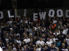 The UConn student section holds up an Olliewood sign during the UConn Huskies vs New Hampshire Wildcats men's college basketball game at Gampel Pavilion on November 17, 2015.