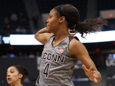 UConn's Moriah Jefferson (4) watches her pass during the UConn Huskies vs Kansas State Wildcats women's basketball game at the XL Center on November 23, 2015.