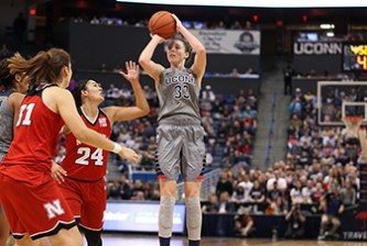 UConn's Katie Lou Samuelson (33) puts up a three-pointer  during the UConn Huskies vs Nebraska Cornhuskers women's basketball game at the XL Center on November 28, 2015.