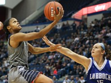 UConn's Moriah Jefferson (4) goes in strong for a layup during the UConn Huskies vs Lubbock Christian Chaparrals women's basketball exhibition game at the XL Center on November 2, 2015.