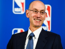 NEW YORK, NY - APRIL 13:  NBA Commissioner Adam Silver looks on during a press conference to announce a marketing partnership between the NBA and PepsiCo on April 13, 2015 at Terminal 23 in New York City. Pepsi will replace Coca-Cola Co with league sponsorship rights, ending a 28-year relationship with Coke.  (Photo by Alex Goodlett/Getty Images)