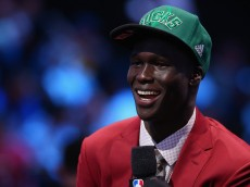 NEW YORK, NY - JUNE 23:  Thon Maker smiles during his interview after being drafted 10th overall by the Milwaukee Bucks in the first round of the 2016 NBA Draft at the Barclays Center on June 23, 2016 in the Brooklyn borough of New York City. NOTE TO USER: User expressly acknowledges and agrees that, by downloading and or using this photograph, User is consenting to the terms and conditions of the Getty Images License Agreement.  (Photo by Mike Stobe/Getty Images)