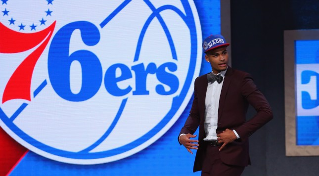 NEW YORK, NY - JUNE 23:  Timothe Luwawu-Cabarrot celebrates on stage after being drafted 24th overall by the Philadelphia 76ers in the first round of the 2016 NBA Draft at the Barclays Center on June 23, 2016 in the Brooklyn borough of New York City. NOTE TO USER: User expressly acknowledges and agrees that, by downloading and or using this photograph, User is consenting to the terms and conditions of the Getty Images License Agreement.  (Photo by Mike Stobe/Getty Images)