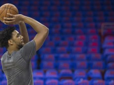 PHILADELPHIA, PA - OCTOBER 30: Jahlil Okafor #8 of the Philadelphia 76ers warms up prior to the game against the Utah Jazz on October 30, 2015 at the Wells Fargo Center in Philadelphia, Pennsylvania. NOTE TO USER: User expressly acknowledges and agrees that, by downloading and or using this photograph, User is consenting to the terms and conditions of the Getty Images License Agreement. (Photo by Mitchell Leff/Getty Images)