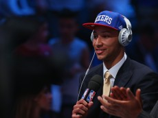 NEW YORK, NY - JUNE 23:  Ben Simmons is interviewed after being drafted first overall by the Philadelphia 76ers in the first round of the 2016 NBA Draft at the Barclays Center on June 23, 2016 in the Brooklyn borough of New York City. NOTE TO USER: User expressly acknowledges and agrees that, by downloading and or using this photograph, User is consenting to the terms and conditions of the Getty Images License Agreement.  (Photo by Mike Stobe/Getty Images)