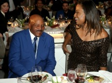 SAN FRANCISCO, CA - FEBRUARY 04:  Former Cleveland Browns running back and NFL Hall of Famer Jim Brown (L) and Monique Brown attend Haute Living And Louis XIII Celebrate Jim Brown's 80th Birthday on February 4, 2016 in San Francisco, California.  (Photo by Joe Scarnici/Getty Images for Haute Living)