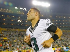 GREEN BAY, WI - AUGUST 29: Mark Sanchez #3 of the Philadelphia Eagles walks off the field after their win over the Green Bay Packers in a preseason game at Lambeau Field on August 29, 2015 in Green Bay, Wisconsin. The Philadelphia Eagles won 39-26. (Photo by Jon Durr/Getty Images)