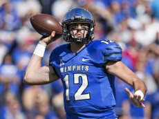 MEMPHIS, TN - OCTOBER 17:  Paxton Lynch #12 of the Memphis Tigers throws a pass during a game against the Ole Miss Rebels at Liberty Bowl Memorial Stadium on October 17, 2015 in Memphis, Tennessee.  The Tigers defeated the Rebels 37-24.  (Photo by Wesley Hitt/Getty Images)